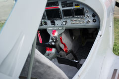 Cockpit of small sport-light airplane Royalty Free Stock Image