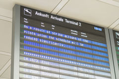 Cockpit strike (english version). Information at the munich airport about the strike of the german pilots union Cockpit on an arrivals display board Stock Image