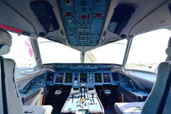Cockpit of Sukhoi Superjet 100 at Singapore Airshow Stock Photos