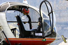 Cockpit of a Swiss helicopter in the mountains stock photo
