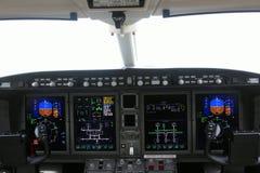 Cockpit van een vliegtuig en een raad Stock Foto