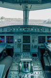 Cockpit view of airplane interior Royalty Free Stock Photography
