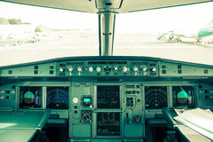 Cockpit view of airplane interior Stock Photography