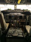 The cockpit view of a boeing 737-800 stock images