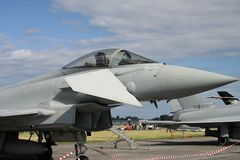 Cockpit view of Eurofighter. Displayed at an airshow stock image