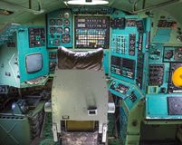 Cockpit view inside the airliner, Poltava Museum. Aircraft interior, cockpit view inside the airliner, isolated windows Aviation Museum, Ukraine, Poltava Stock Photos