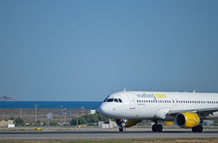 A Cockpit View Of A Vueling Airlines Plane - Aircraft Flight Stock Image