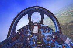 Cockpit von Flight Simulator stockbild