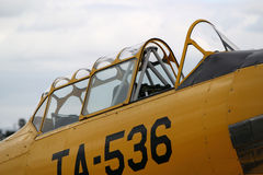 Cockpit of Yellow T-6 Texan Stock Photography