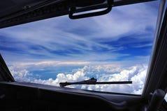 Cockpitfensteransicht Stockbild