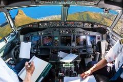 Cockpitflyg på Cape Town Arkivfoton