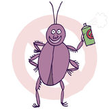 Cockroach and bugspray Royalty Free Stock Photos