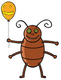 Cockroach holding Halloween ballon. Showing a cockroach holding balloon Royalty Free Stock Images