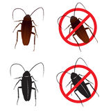 Cockroaches and Stop cockroach sign symbols  design Royalty Free Stock Photo