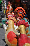 Cocks and hens. Decorative cocks and hens in Biot, France Stock Photo