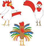 Cocks monsters. Cock with body of multi-colored feathers, cock with teeth and strange cock Stock Photos
