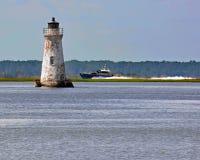 Cockspur Lighthouse on the Savannah River stock photography