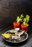 Cocktail écossé d'huîtres et de bloody mary images libres de droits