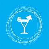 Cocktail, ícone de martini em um fundo azul com círculos abstratos em torno e lugar para seu texto Imagem de Stock