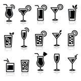 Cocktail, ícones do vetor dos vidros das bebidas ajustados Fotografia de Stock Royalty Free