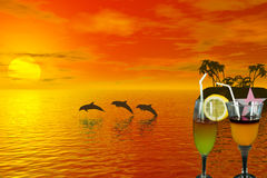 Cocktail. With tropic scene behind Royalty Free Stock Photography