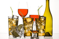Cocktail. Glass with alcohol and ice on white background Royalty Free Stock Images