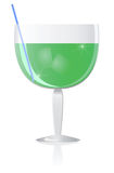 Cocktail. Green shiny cocktail on white background stock illustration