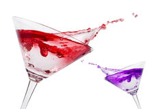 Cocktail. Martini glass. Isolated on a white stock photos