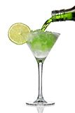 Cocktail. With crushed ice and lime, isolated on white background stock photography