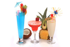 Cocktail. Decorated cocktails (Pina Colada, Strawberry Margarita and Blue Lagoon) over white background Stock Photography