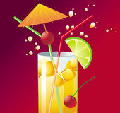 Cocktail. Fresh cocktail with lime - illustration vector illustration