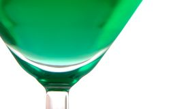 Cocktail. Extreme close-up view of glass with green cocktail royalty free stock image