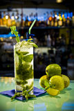 Cocktail. Alcohol cocktail with fruits in bar Royalty Free Stock Images