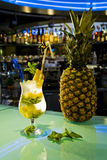 Cocktail. Alcohol cocktail with fruits in bar Royalty Free Stock Photo