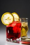 Cocktail, A Lemon And An Ice Royalty Free Stock Photo