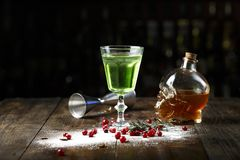 Absinthe in a glass stock images