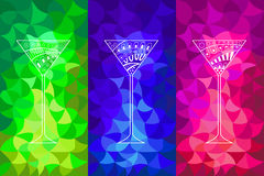 Cocktail abstract pattern glass blue pink green illustration Royalty Free Stock Images