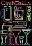 Cocktail al neon/simboli della barra Immagini Stock Libere da Diritti