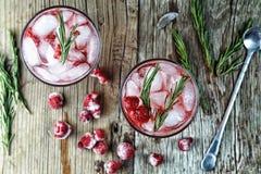 Cocktail alcoólico, alecrim, cocktail frutado, framboesa, strawb fotografia de stock