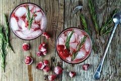 Cocktail alcoólico, alecrim, cocktail frutado, framboesa, strawb imagem de stock