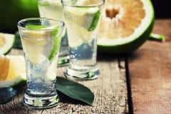 Cocktail alcoólico amargo com vermute do tônico e toranja, vi foto de stock