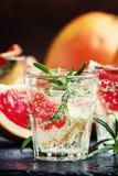 Cocktail alcoólico com toranja, soda, gelo, gim e alecrins, imagens de stock