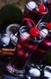 Cocktail alcoólico com uma cereja, mirtilo da baga, mel, cinnam foto de stock royalty free