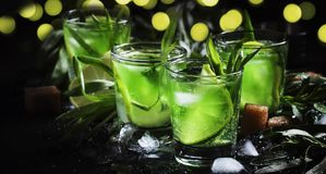 Cocktail alcoólico com verde-lima, suco de limão, açúcar de bastão, soda, gelo esmagado e folhas do estragão, fundo preto, seleti foto de stock
