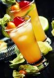 Cocktail alcoólico com vodca, licor, amargo, suco de lima, deco imagem de stock