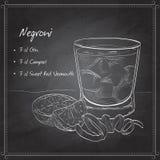 Cocktail alcoólico de Negroni na placa preta ilustração stock