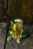 Cocktail alcoólico delicioso com limão e cal, partes de gelo fotos de stock