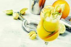 Cocktail alcoólico do citrino do verão com a laranja e o cal, seletivos imagens de stock royalty free