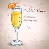 Cocktail alcohol Mimosa. With Champagne, orange juice, orange stock illustration