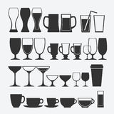 Cocktail and alcoholic glass set Stock Image